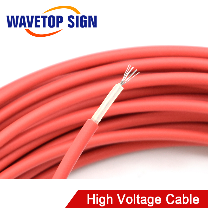 40KV 22AWG High Voltage Cable Red Positive Lead Wire For CO2 Laser Power Supply And Laser Tube And Engraving Cutting Machine