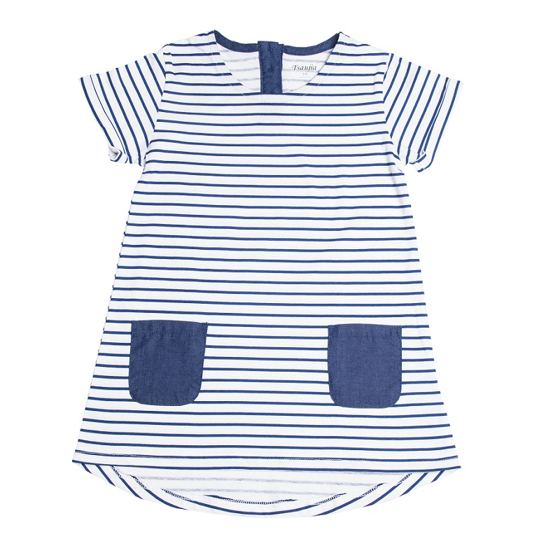 2016 New Brand 2 7 Years Girls Short Sleeve Blue Stripe Summer Dress 100 Cotton Casual