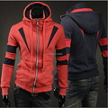 2015 new fall and winter clothes stitching design warm  Korean men's fashion casual hooded cardigan  Sweatshirts  coat