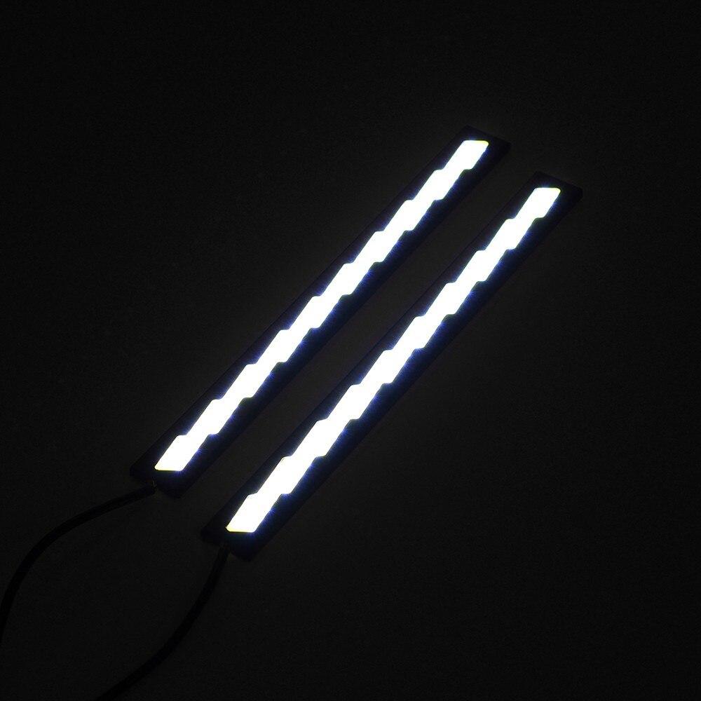 1 пара светодиод cob автомобиль дневного света Белый Универсальный дневного света DRL туман управляя Лампа 12V Алюминиевый стайлинга автомобилей горячая Продажа