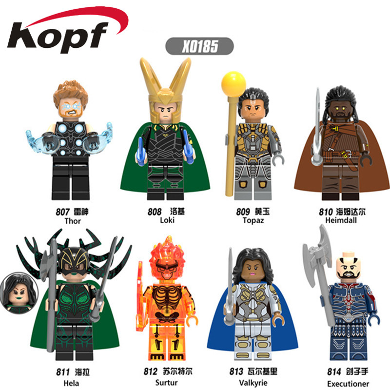 Single Sale Super Heroes Loki Heimdall Surtur Valkyrie Thor Hela Executioner Hela Model Building Blocks Children Toys Gift X0185 building blocks single sale doctor strange thor executioner flash super heroes model action bricks children gift toys xh 825