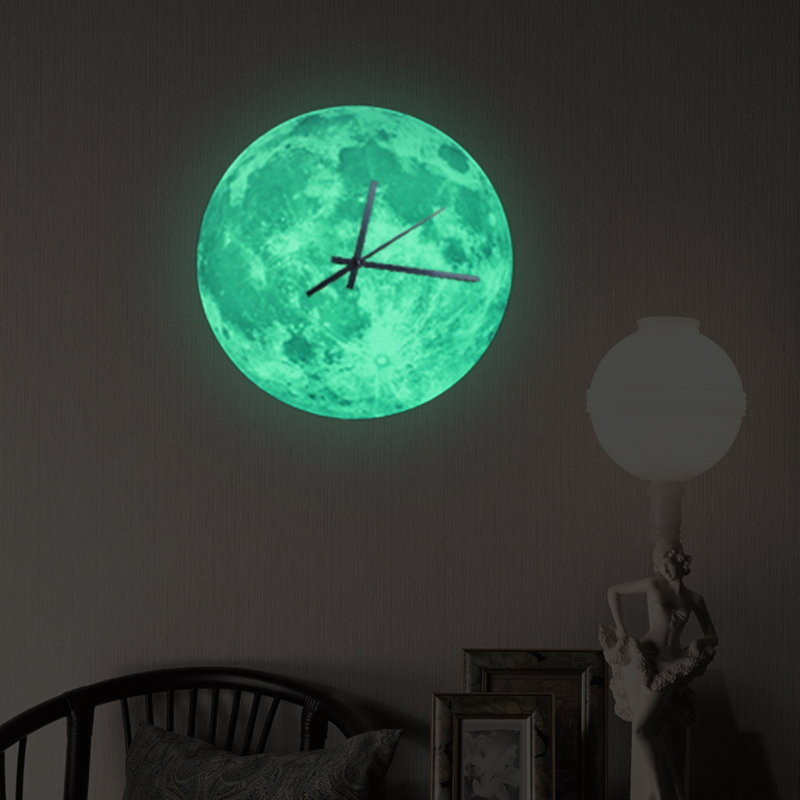Funlife Glow in the Dark Moon Wall Clock Romantic Luminous Moon Home Decor Quartz Sweep movement