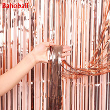 1PCS 1*2M Rose Gold Foil Fringe Tinsel Curtain Tassel Wedding Christmas Birthday Party Decor Photography Backdrop Party Supplies(China)
