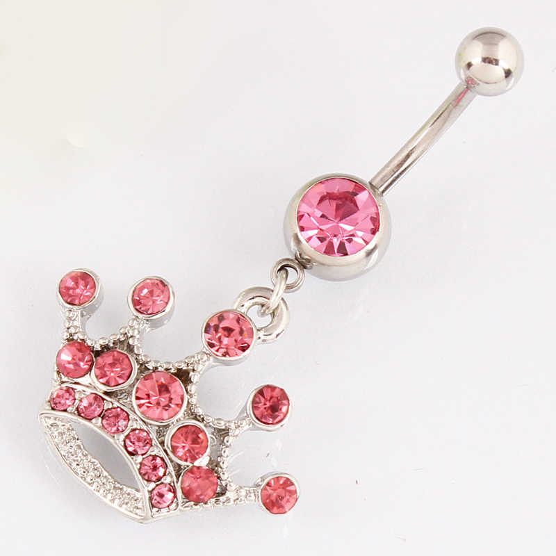 Rose Imperial crown belly button cincin lady body piercing jewelry Retail pusar bar 14G 316L bedah steel bar Nikel-gratis