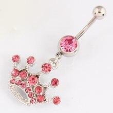 Кольцо для пирсинга живота с розовой короной ювелирное изделие
