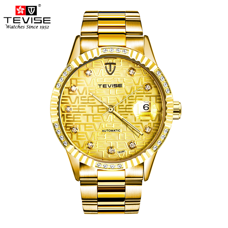 TEVISE Men Automatic Self-Wind Watch Man Gold Full Stainless Steel Luxury Skeleton Auto Date Wristwatches T629C with band tool tevise fashion mechanical watches stainless steel band wristwatches men luxury brand watch waterproof gold silver man clock gift