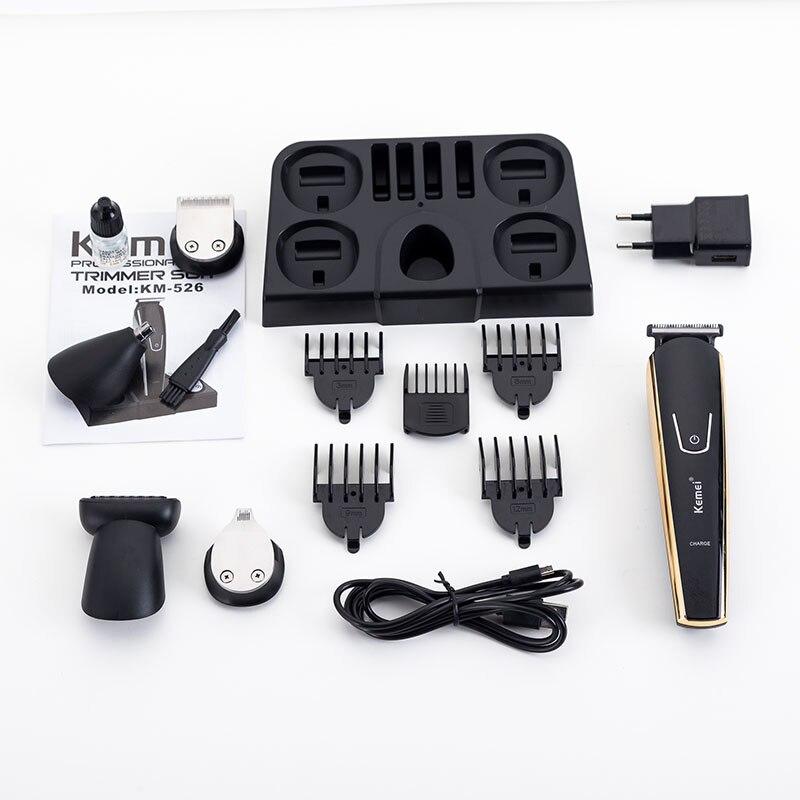 100-240V kemei 5 in 1 electric shaver hair trimmer titanium clipper beard razor men styling tools shaving machine for barber 4