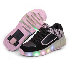 Children Roller Shoes with Wheels Kids Led Light up Shoes Sneakers for Boys Girls Glowing Sneaker Pink Black tenis infantil