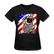 Short Sleeve Independence Day Pug Women t shirt Discount Funny Lady tee shirt