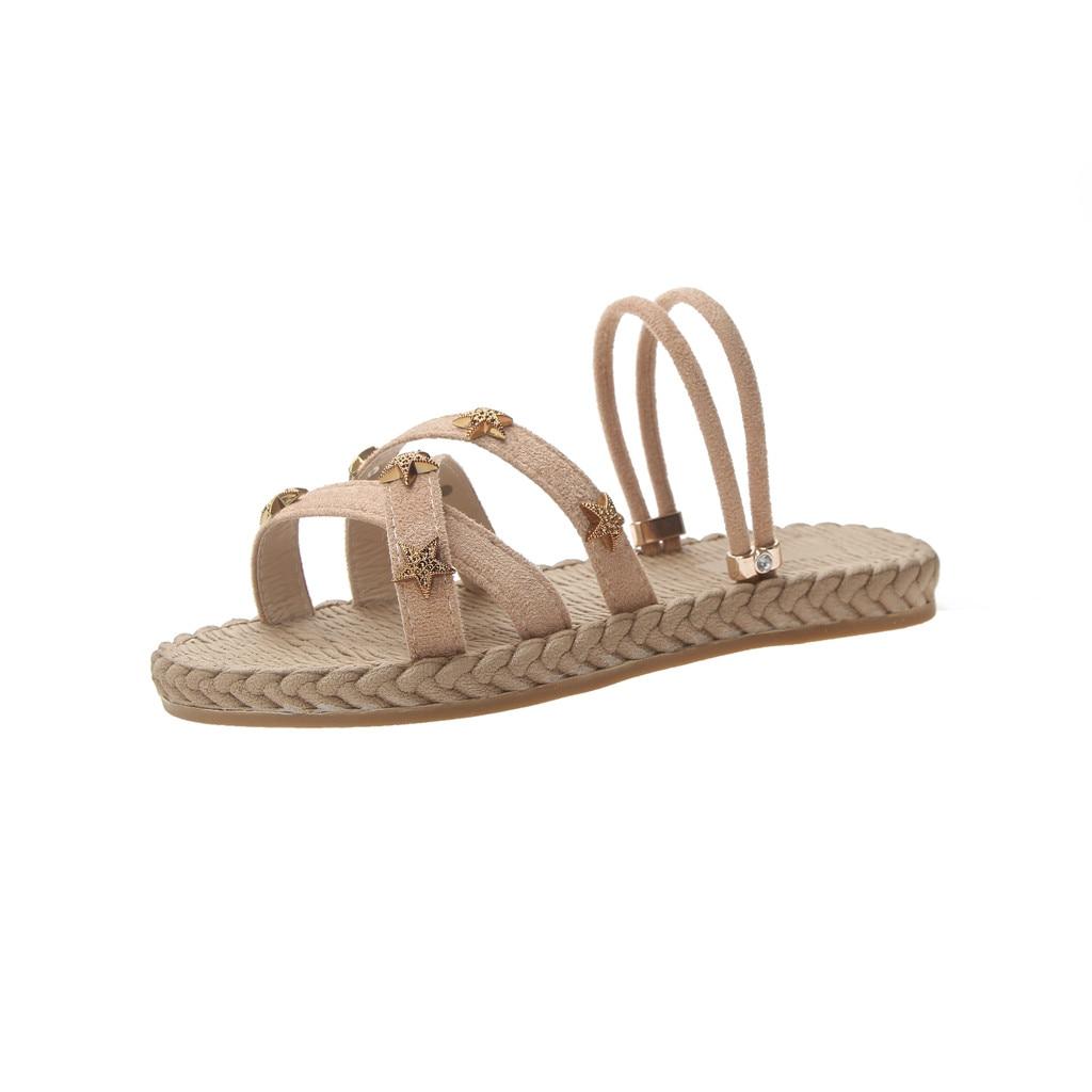 SAGACE Sandals Elastic-Slippers Cross-Straps Open-Toe Flat Fashion Hollow Women