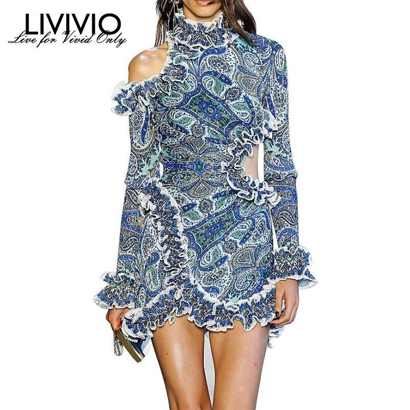 LIVIVIO Vintage Asymmetric Ruffle Print Dress For Women Long Sleeve Off Shoulder Hollow Out Mini