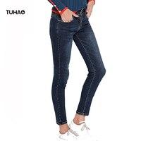 TUHAO Mid Waist Jeans Women Pockets Slim Fit Elastic Skinny Plus Size Denim Pencil Pants Casual
