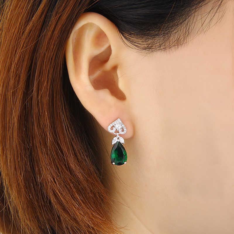 Boucles d'oreilles en pierre bleue verte pour femmes boucles d'oreilles bleues AAA Zircon cubique avec fleur 2017 Oorbellen AE352