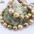 Free Shipping 10-12mm Colorful Genuine Natural Freshwater Edison Reborn Round Large Pearl Bead Gold Filled Clasp Necklace 18inch