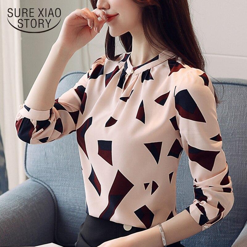 Nueva llegada 2018 blusa de primavera ropa impresa mujer Camisa de gasa de manga larga mujeres moda estilo simple tops D487 30