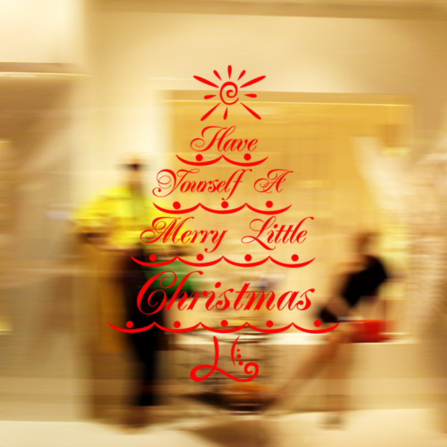 white Christmas tree Wall sticker glass window DIY Removable holiday ...