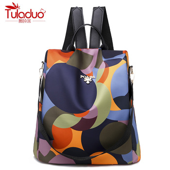 High Quality Waterproof Oxford Women Backpack Fashion Colored circles 1