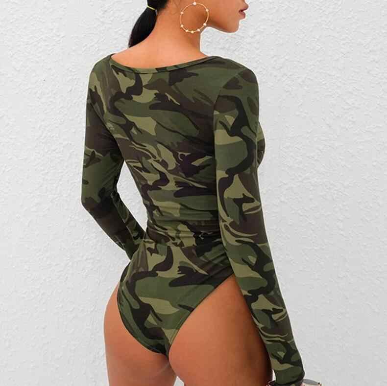Камуфляжный принт, повседневный боди с длинными рукавами, v-образный вырез, камуфляжный сексуальный боди, Женский армейский зеленый облегающие комбинезоны, базовые боди