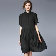 4XLwomen work dress for summer short sleeve knee length chiffon pleated black office lady dresses extra large casual briefdress