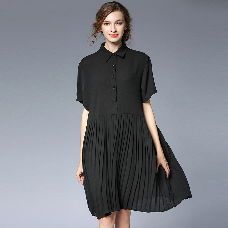 4XLwomen work dress for summer short sleeve knee length chiffon pleated black office lady dresses extra