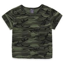 Angeltree Jungen T-Shirt Baumwolle Kleidung Kurzen Ärmeln Mädchen Gestreiften Camouflage Sommer Kinder Kleidung Kurzarm Für Kinder Baby