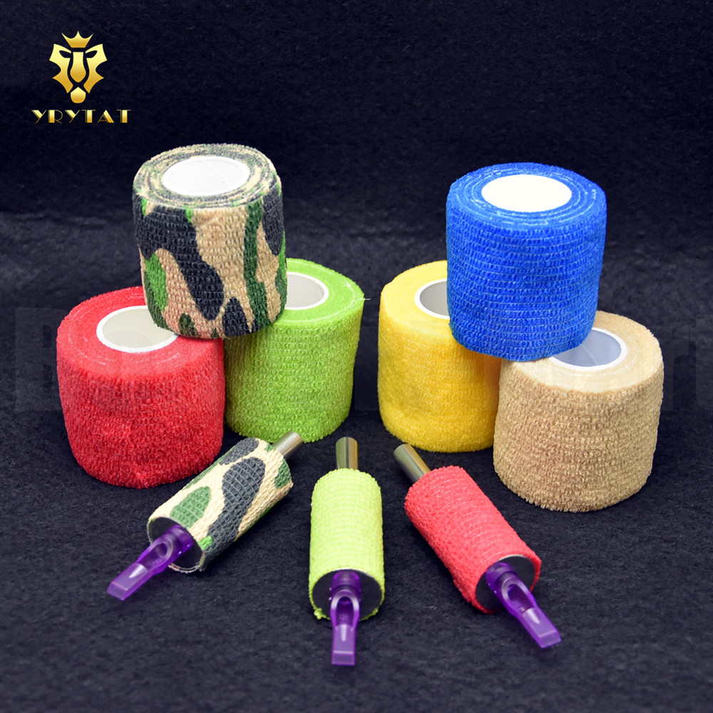 Original YRYTAT 6PCS Tattoo Grip Cover Magic Bandage Grip Cover 50mm Mix Colors For Tattoo Grip Tubes TBC01-6# ...