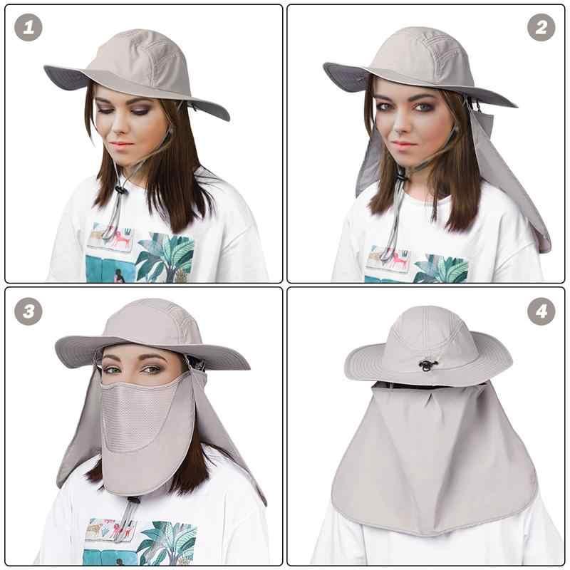 Clispeed 1 PC หมวกตกปลาขอบกว้างคอป้องกันดวงอาทิตย์หมวกสำหรับหมวกเดินป่าล่าสัตว์สวนซาฟารี