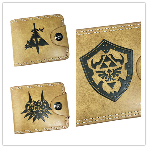 Anime zelda  Zip Coins snap fastener wallet Short Bifold Holder Layers Money Cards Brown Leather Purse Men Otaku Gift