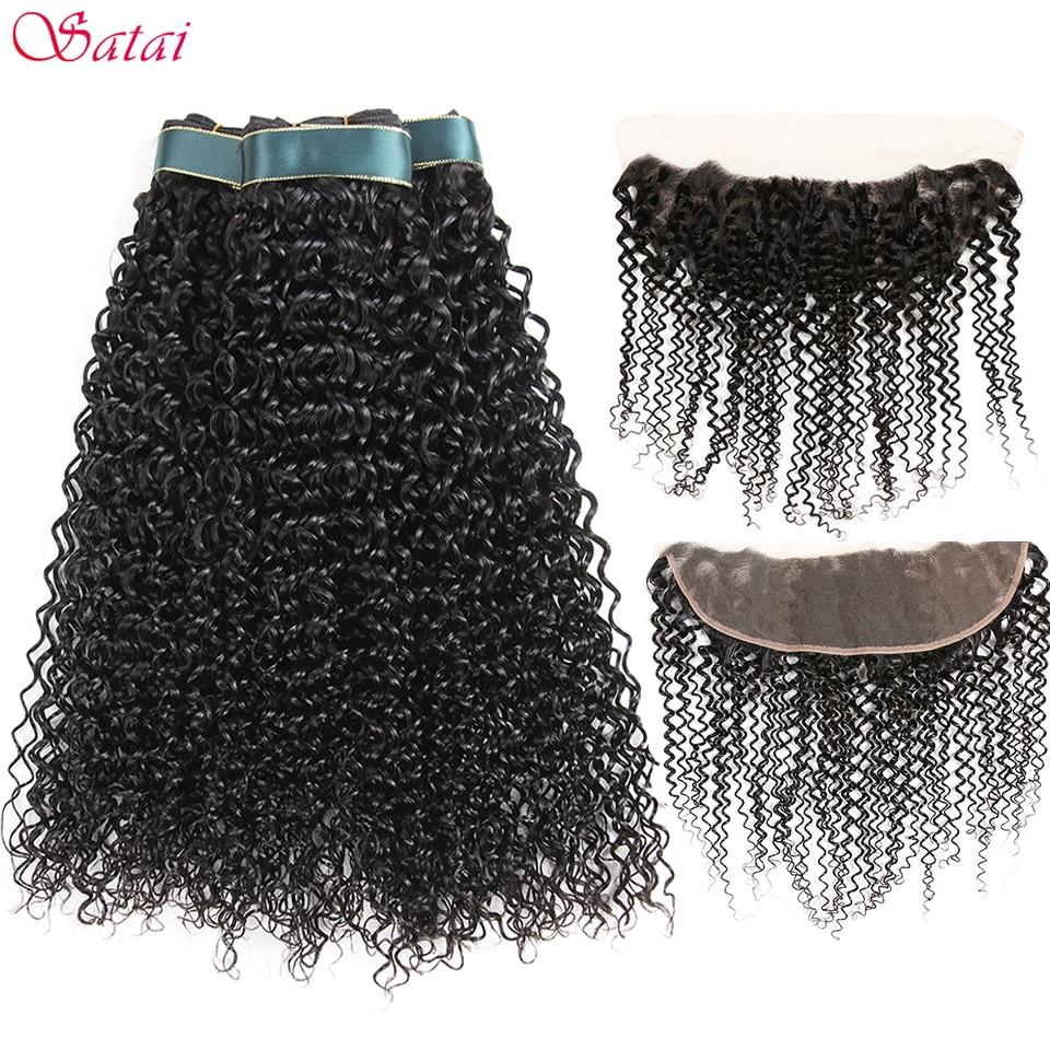Satai Kinky Curly Hair 3 Bundles With Frontal 100 Peruvian Human Hair Bundles With Closure Natural