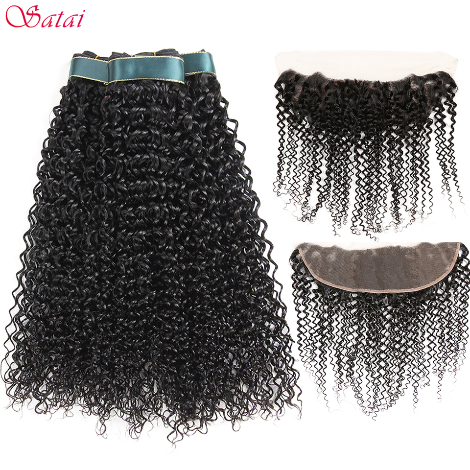 Satai Kinky Curly Hair 3 Bundles With Frontal 100% Peruvian Human Hair Bundles With Closure Natural Color NonRemy Hair Extension