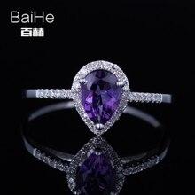 BAIHE Sterling Silver 925 0.644ct Certified Purple Flawless Pear cut Amethyst Flawless Wedding Women Trendy Fine Jewelry Ring