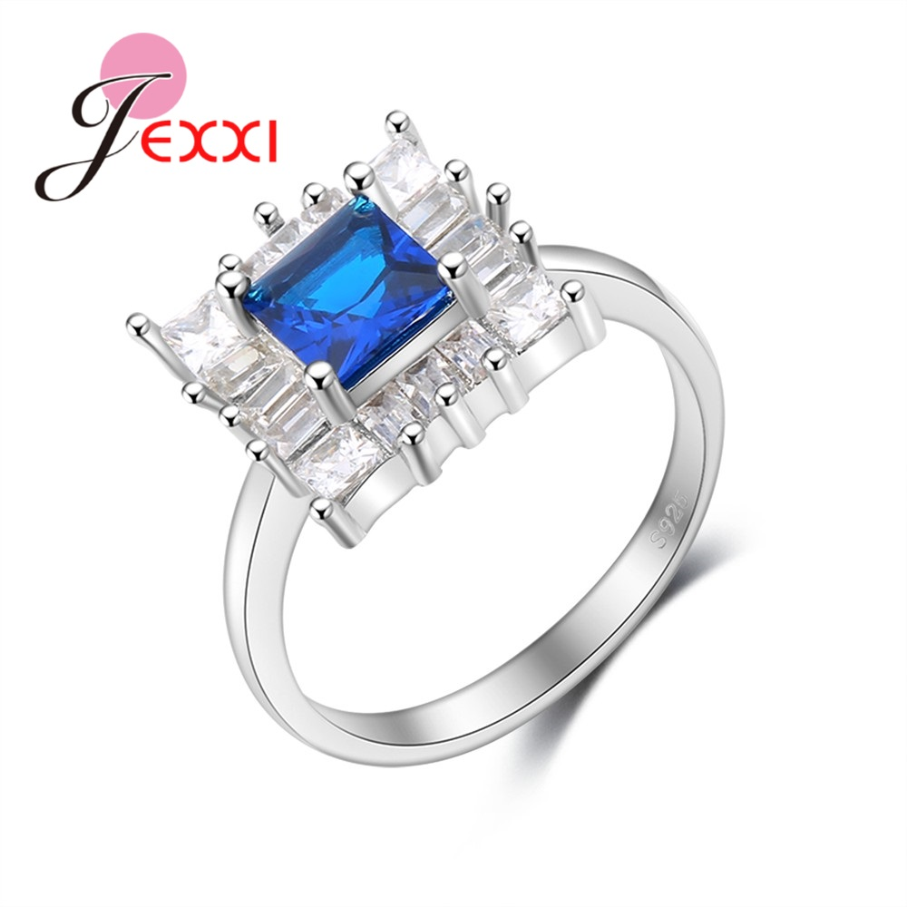 JEXXI Classic Princess Finger Accessories 925 Sterling Silver Crystal Jewelry White Blue Zircon Rings for Ladies Gifts