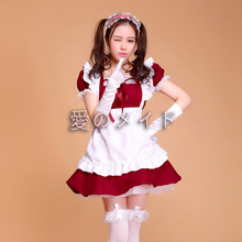 Súper adorable lindo maid cosplay costume nuevo lindo de dibujos animados anime maid cosplay para las mujeres lolita princesa girl dress cs33760