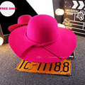 2017 new Dotted bow bridal hat female British black woolen hat women fall and winter fashion wild big hat elegant celebrity