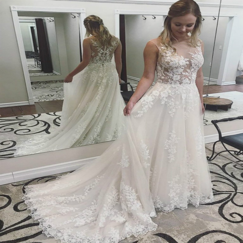 Amazing Boho Wedding Dress With Appliques A Line Beautiful Bohemian Wedding Dress See Through Top Lace Garden Bridal Gowns 2019