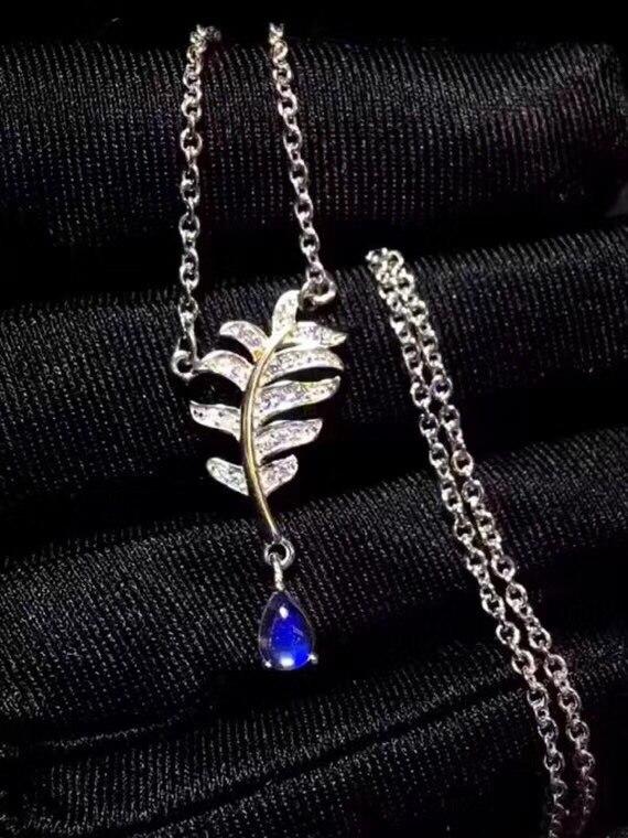 Collier pierre de lune naturelle, pierre de lune bleue, Style plume, Gem Clean, collier pour femmes en argent 925