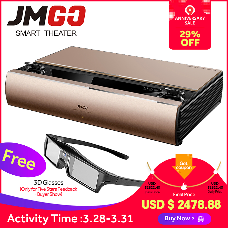 JMGO SA, лазерный проектор, 1920x1080 p, 2200 ANSI люмен, Full HD Android, мультимедийный проектор, bluetooth-проектор, Bluetooth динамик, 3D проектор
