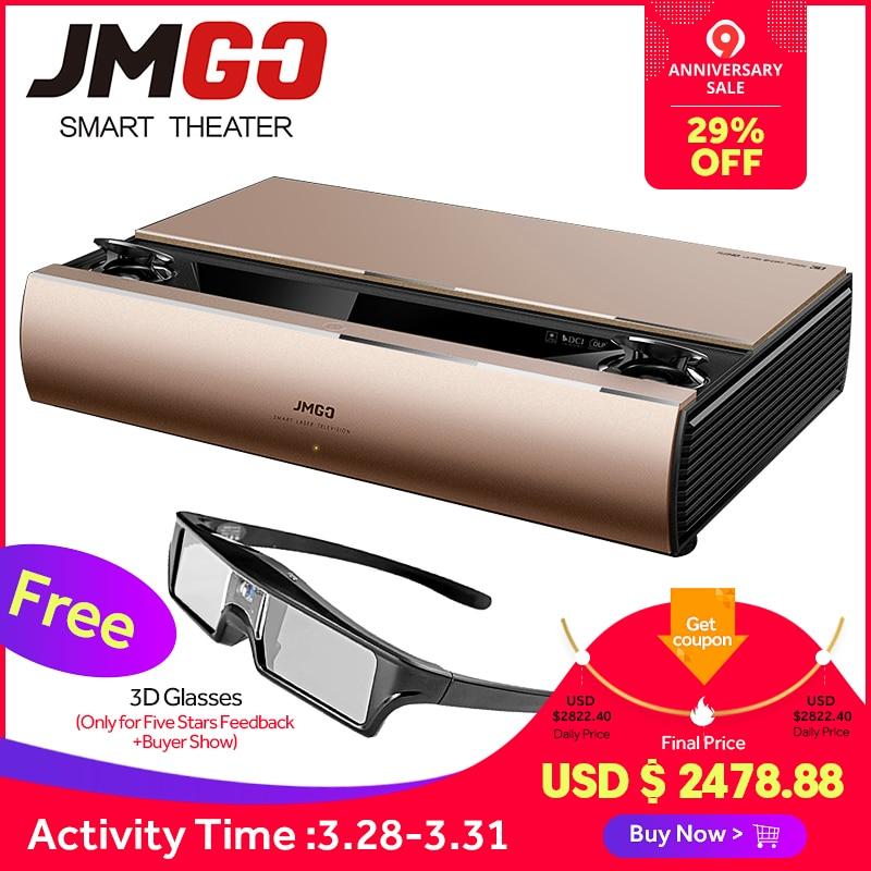 JMGO SA, projecteur laser, 1920x1080 p, 2200 ANSI Lumens, Full HD Android Beamer, WIFI Proyector, haut-parleur bluetooth, 3D Projecteur