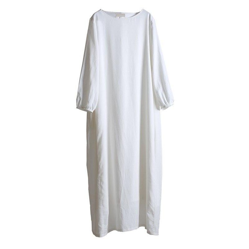 acfe179e3c1d ASYMSAY Bianco Abito di Lino Cotone 2017 di Disegno Semplice Large Size  Abbigliamento Donna Donna Elegante A Vita Alta Vestiti Lunghi AC3770 in  ASYMSAY ...