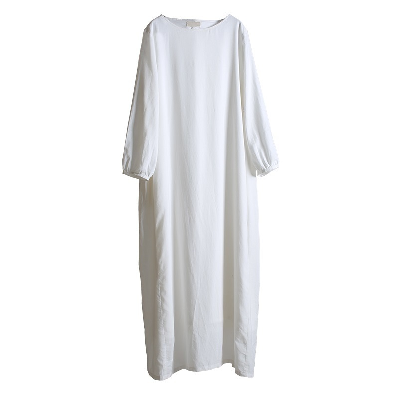 Wonderbaarlijk ASYMSAY White Cotton Linen Dress 2017 Simple Design Large Size IZ-43