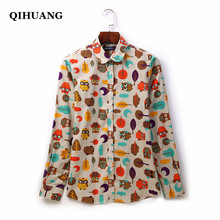 QIHUANG 2019 Fashion Women Shirt Cotton Owl Printed Blouse Long Sleeve Plus Size Tops Streetwear Female camisa mujer