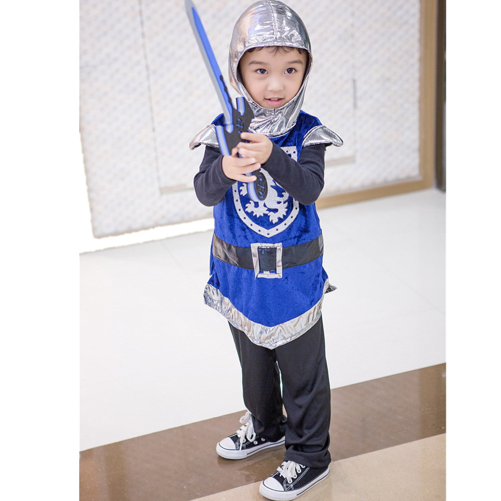 Toddler Boys Valiant Warrior Knight Costume With Sword Children's Day Gift Halloween Cosplay Outfit