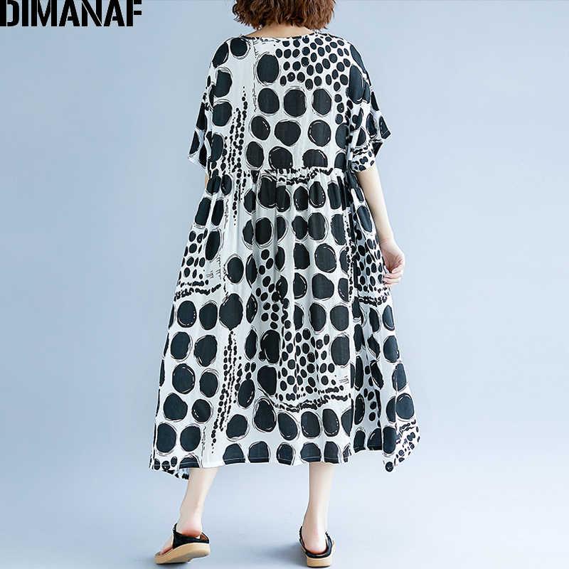 DIMANAF 女性夏ドレスプラスサイズファム大 Vestidos 服プリントドット黒のエレガントなレディカジュアルリネンロングドレス