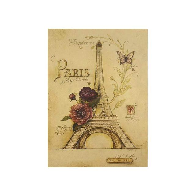 TIE LER Wall Decals Butterfly Paris Eiffel Tower Paper Wall Sticker Home Decor Vintage Painting Poster