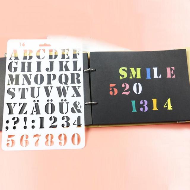 Lettera Alfabeto Numero Stratificazione Stencil Pittura Murale Scrapbooking FAI  DA TE Decor Tavolo Da Disegno Adesivo