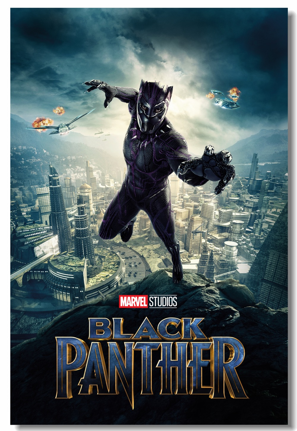 Custom canvas wall decor marvel black panther poster black panther wall stickers tchalla wakanda wallpaper office mural 0311 in wall stickers from home