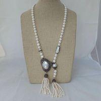 36'' White Pearl Necklace Big White Keshi Pearl Pendant