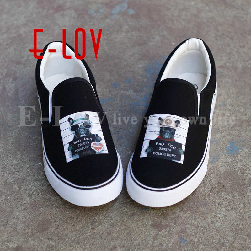 New 2017 Summer Fashion French Bulldog Design Canvas Shoe Women's High Quality dog Tops Hipster Casual Flat Shoes french workplace design
