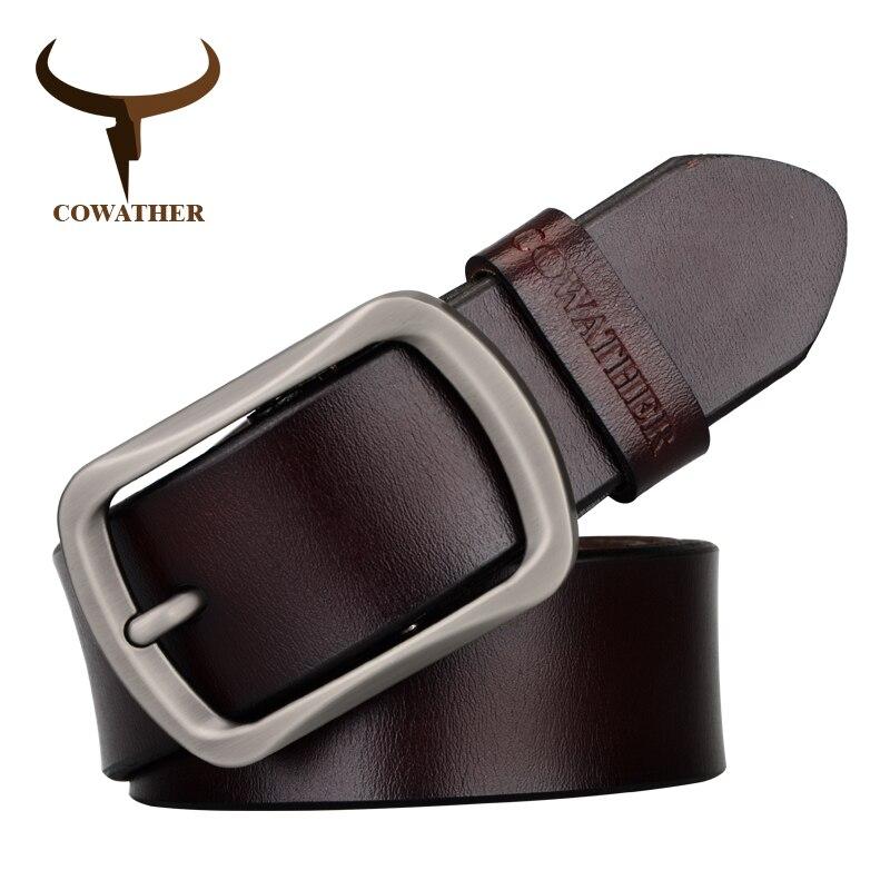 Cowather vestido de marca de los hombres clásicos de cuero de vaca genuino macho pin hebilla de la correa ajustable de la manera negro marrón café papel de regalo