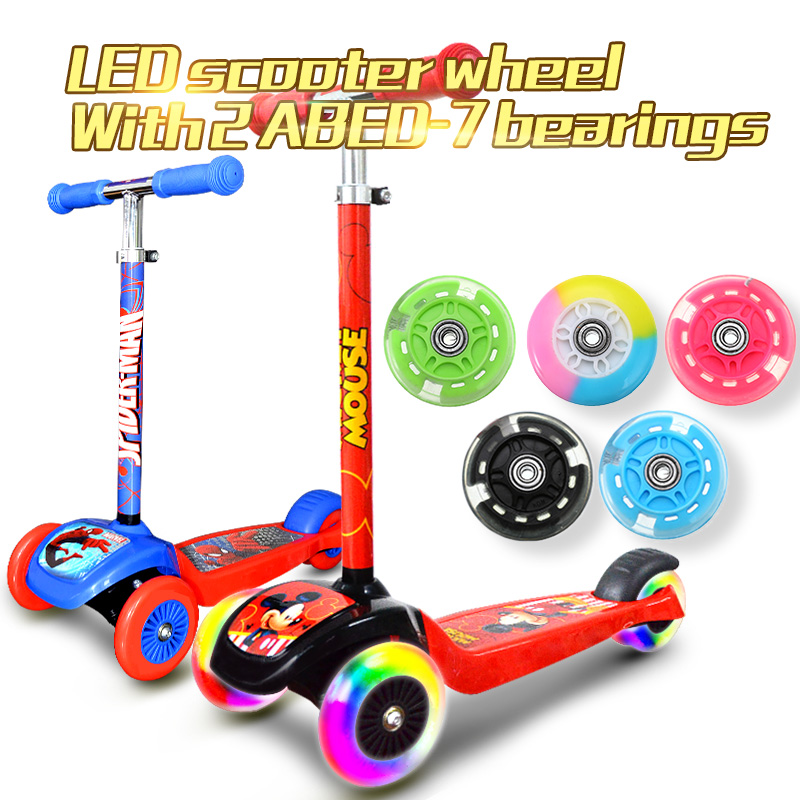80mm Scooter Wheel LED Wheel Flash Light Up Wheel with 2 ABED-7 Bearings for Mini Micro Scooter 5 Colors